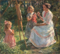 'The Artist's Wife and Children', Large Danish Impressionist Oil,