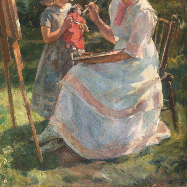 'The Artist's Wife and Children', Large Danish Impressionist Oil,  For Sale 8