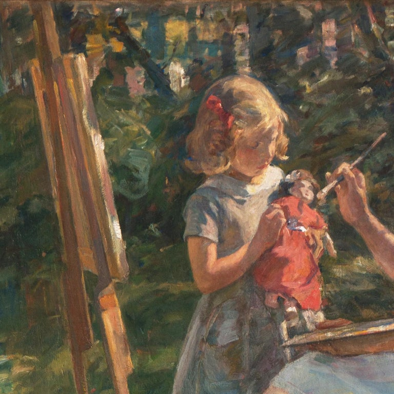 'The Artist's Wife and Children', Large Danish Impressionist Oil,  For Sale 5