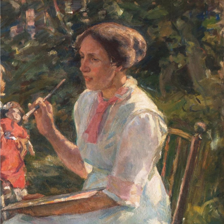 'The Artist's Wife and Children', Large Danish Impressionist Oil,  For Sale 7