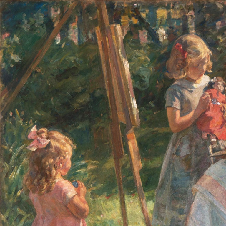 'The Artist's Wife and Children', Large Danish Impressionist Oil,  For Sale 1