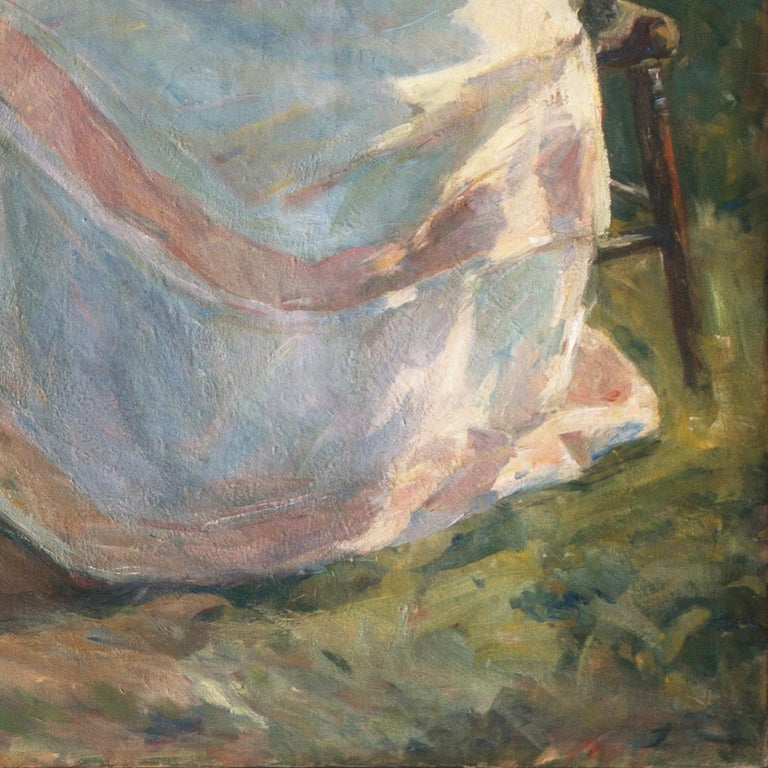 'The Artist's Wife and Children', Large Danish Impressionist Oil,  For Sale 9