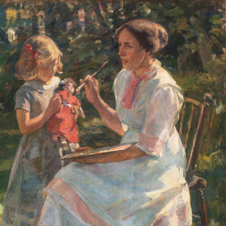 'The Artist's Wife and Children', Large Danish Impressionist Oil,  For Sale 6