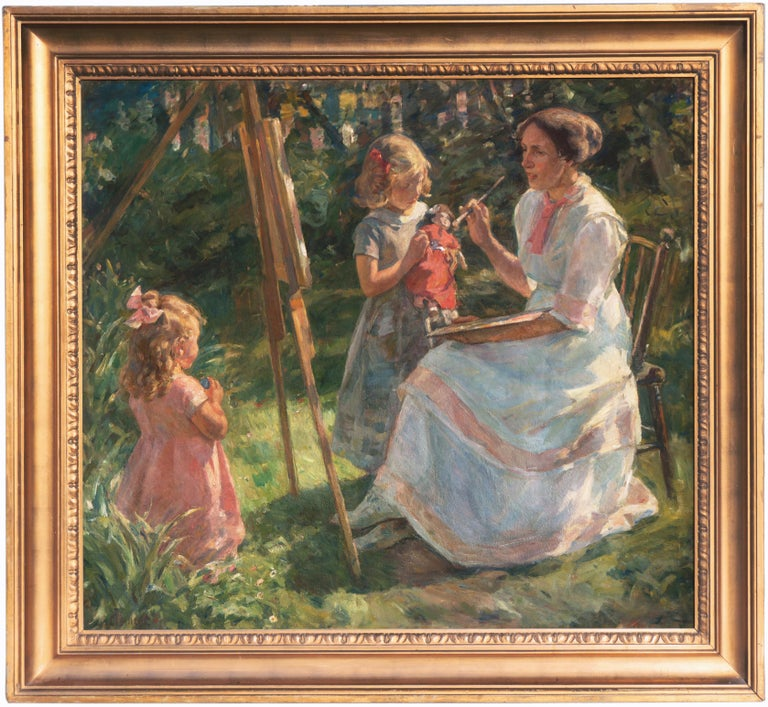 'The Artist's Wife and Children', Large Danish Impressionist Oil,  - Painting by G. Frederick Clement