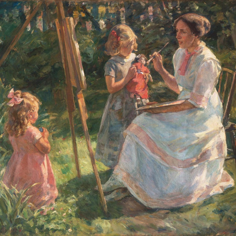 'The Artist's Wife and Children', Large Danish Impressionist Oil,  For Sale 10