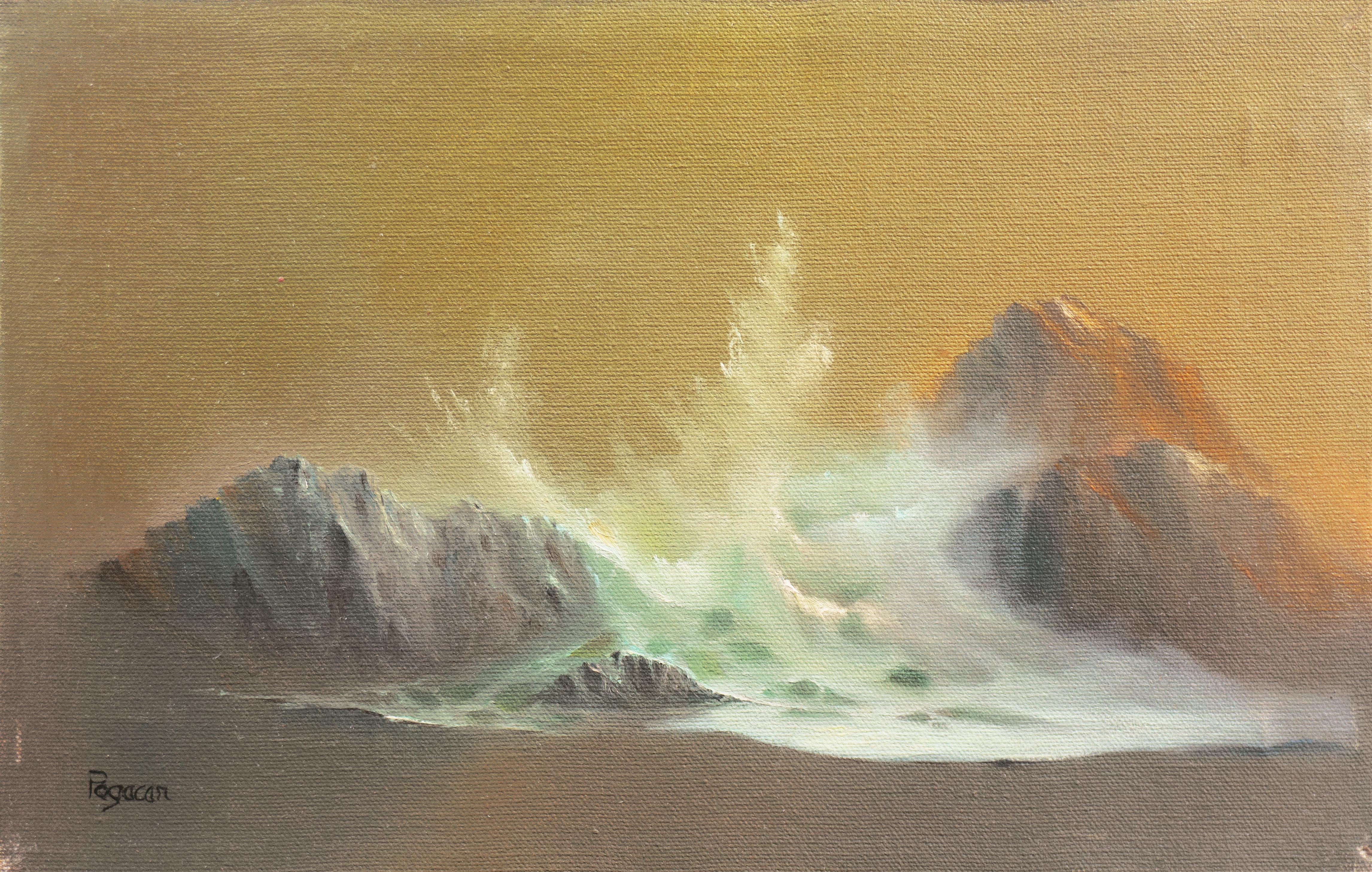 'Breaking Wave, California Coast', Tonalist Seascape, New York, Sacramento