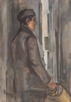 'Study of a Man', Mid-Century Modernist, Urban Tonalist Oil, PAFA, AIC