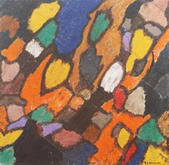 'Cloisonne Abstract', Large Post Impressionist Oil, Aptos, California