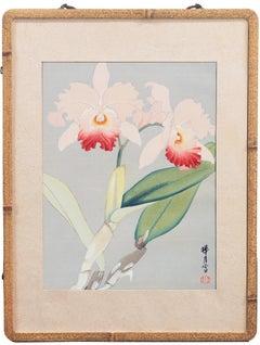 'Still Life of Orchids', Japanese Florilegium, color woodcut, Michigan, Kyoto