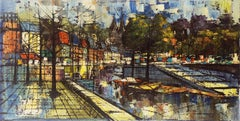 'Cityscape with Canals', Large Expressionist Oil, Style of Bernard Buffet, Urban