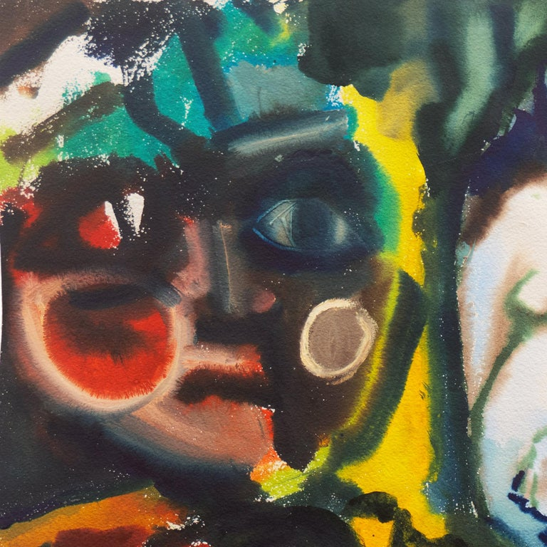'Leaving the Garden of Eden', Mid-century American Expressionist, Adam and Eve For Sale 1