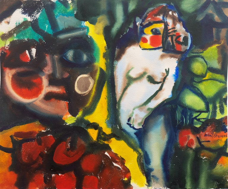 John T. Stephens Figurative Art - 'Leaving the Garden of Eden', Mid-century American Expressionist, Adam and Eve