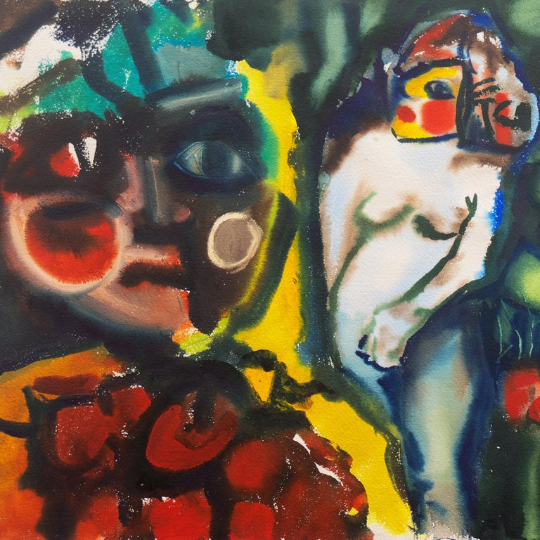 'Leaving the Garden of Eden', Mid-century American Expressionist, Adam and Eve For Sale 3