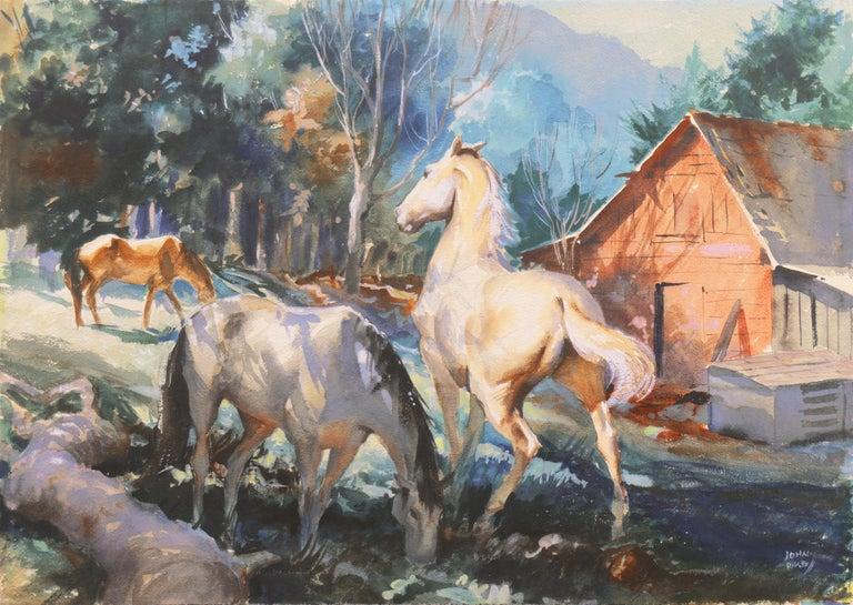 John Pike Animal Art - 'Horses at Pasture', Salmagundi Club, Metropolitan Museum, AIC, PPFA, AWCS, NA
