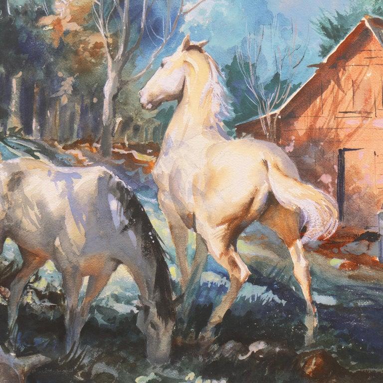 'Horses at Pasture', Salmagundi Club, Metropolitan Museum, AIC, PPFA, AWCS, NA - Impressionist Art by John Pike