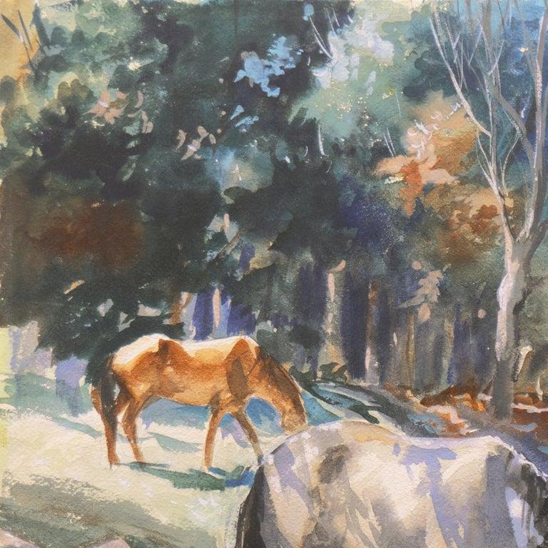 'Horses at Pasture', Salmagundi Club, Metropolitan Museum, AIC, PPFA, AWCS, NA - Gray Animal Art by John Pike