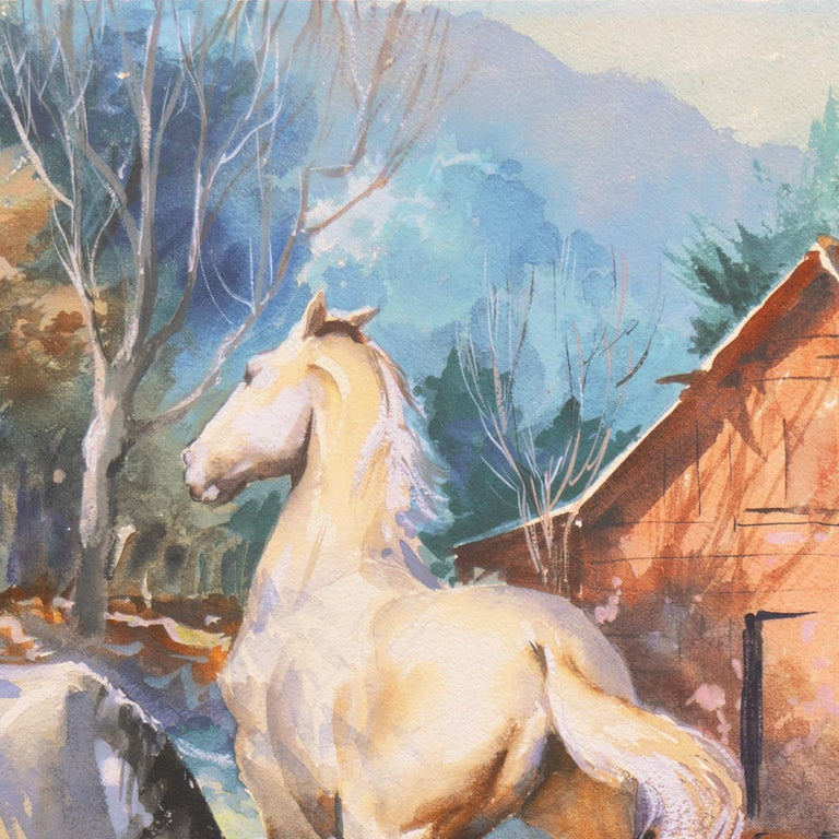 'Horses at Pasture', Salmagundi Club, Metropolitan Museum, AIC, PPFA, AWCS, NA For Sale 1