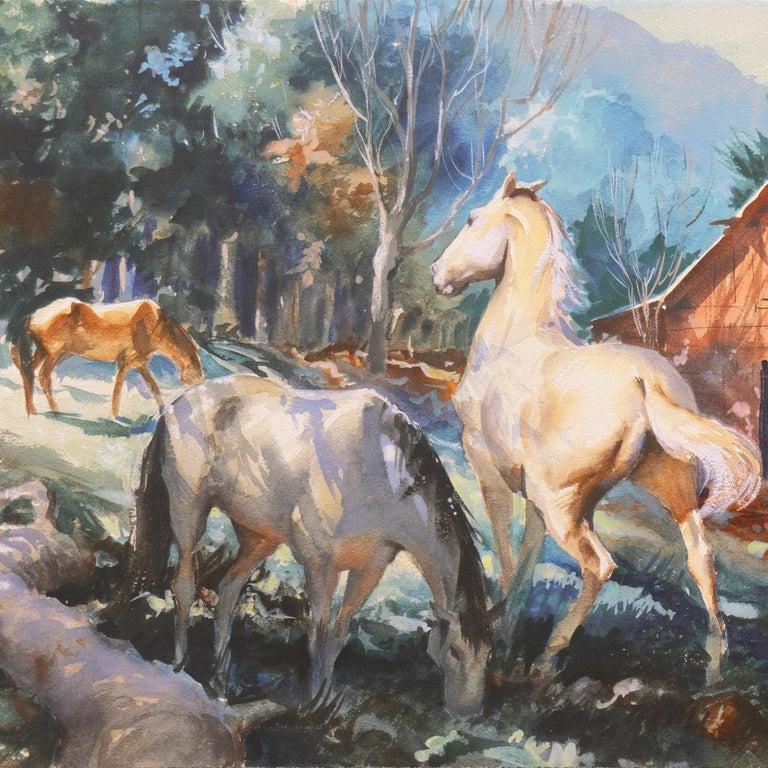 'Horses at Pasture', Salmagundi Club, Metropolitan Museum, AIC, PPFA, AWCS, NA For Sale 2
