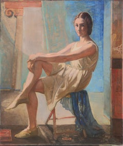 'Neo-Classical Ballerina', Large Oil, Royal Danish Academy, Student of Matisse
