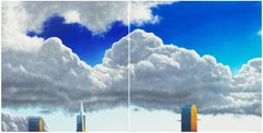'San Francisco Skyline', Large Oil Diptych, TransAmerica, Financial District