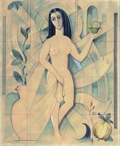 'Vestal Virgin', Danish Modernism, Art Deco Figural, Mythological, Neo-classical