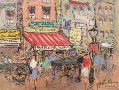 'Parisian Flower Market with Shoppers', Post-Impressionist, School of Paris,