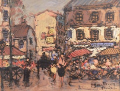 'Parisian Cafe and Flower Market', French School, Post Impressionist