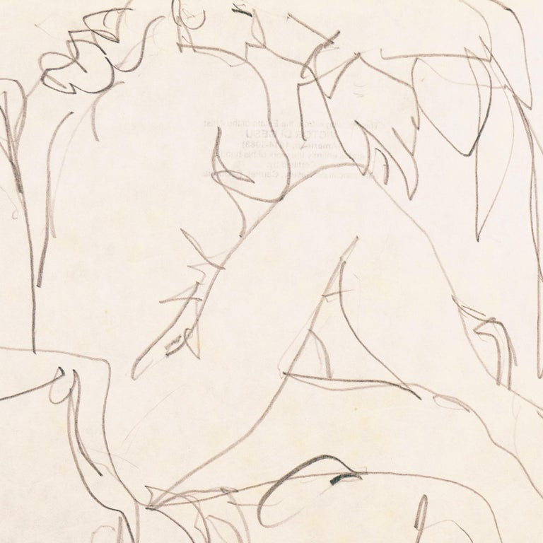 A figural pencil drawing of a young woman shown seated in an armchair. Created by Victor Di Gesu (American, 1914-1988) circa 1955 and stamped, verso, with Victor di Gesu estate stamp..    Winner of the Prix Othon Friesz, Victor di Gesu first