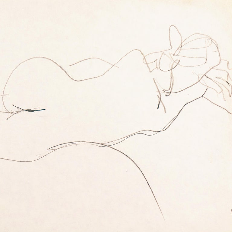 A figural pencil drawing of a young woman shown reclining on a bed. Created by Victor Di Gesu (American, 1914-1988) circa 1955 and stamped, verso, with Victor di Gesu estate stamp.  Winner of the Prix Othon Friesz, Victor di Gesu first attended the