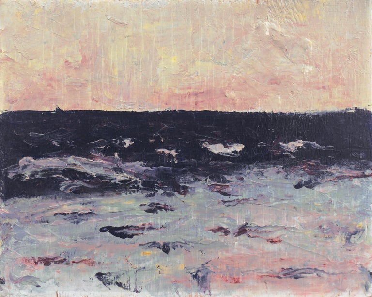 Hugh McChesney Landscape Painting - 'Dawn, Lilac and Rose', American Expressionist Oil Seascape