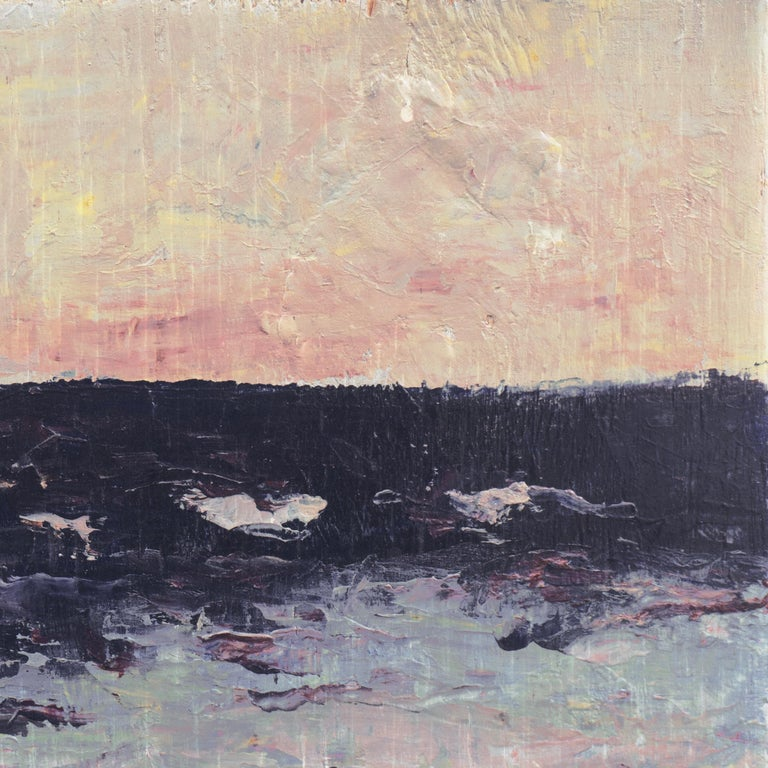 'Dawn, Lilac and Rose', American Expressionist Oil Seascape - Painting by Hugh McChesney