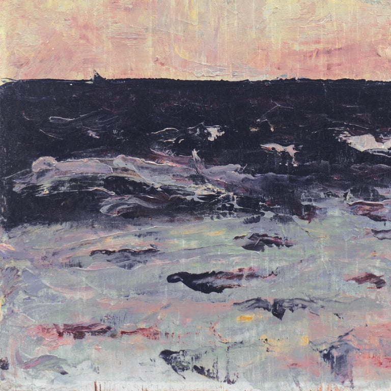 'Dawn, Lilac and Rose', American Expressionist Oil Seascape - Brown Landscape Painting by Hugh McChesney