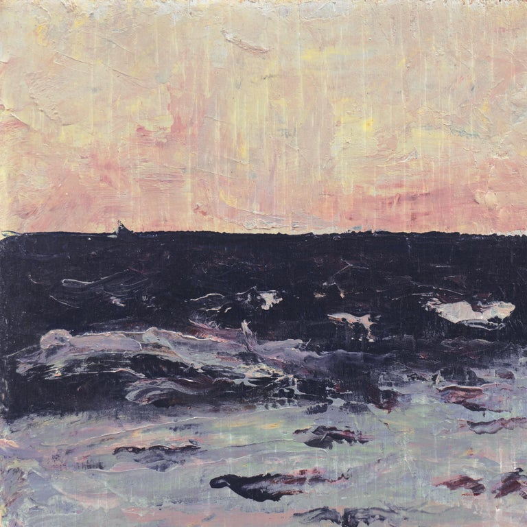 'Dawn, Lilac and Rose', American Expressionist Oil Seascape - Post-Impressionist Painting by Hugh McChesney