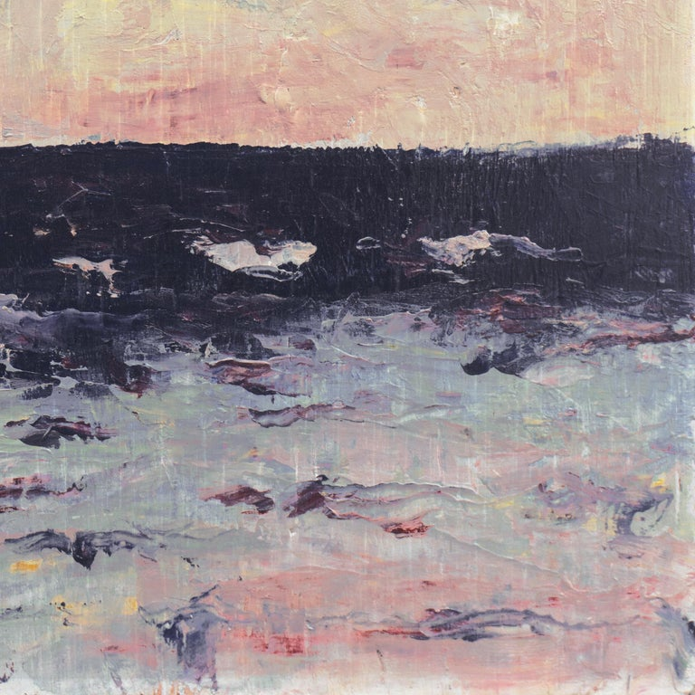 Painted by Hugh McChesney (American, 20th century) circa 1991. Stamped, verso, with certification of authenticity and bearing old labels.  A dramatic, Expressionist style oil showing a panoramic view of turbulent, ink-blue waters with whitecaps