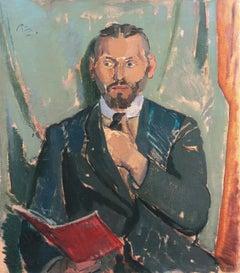 'Man with a Red Book', Paris, Copenhagen Art Academy, Benezit, Thieme-Becker