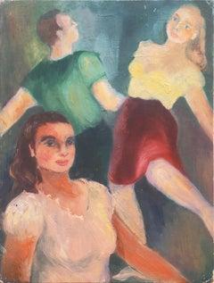 'Couple Dancing', American Folk Art Figural Oil, WPA era