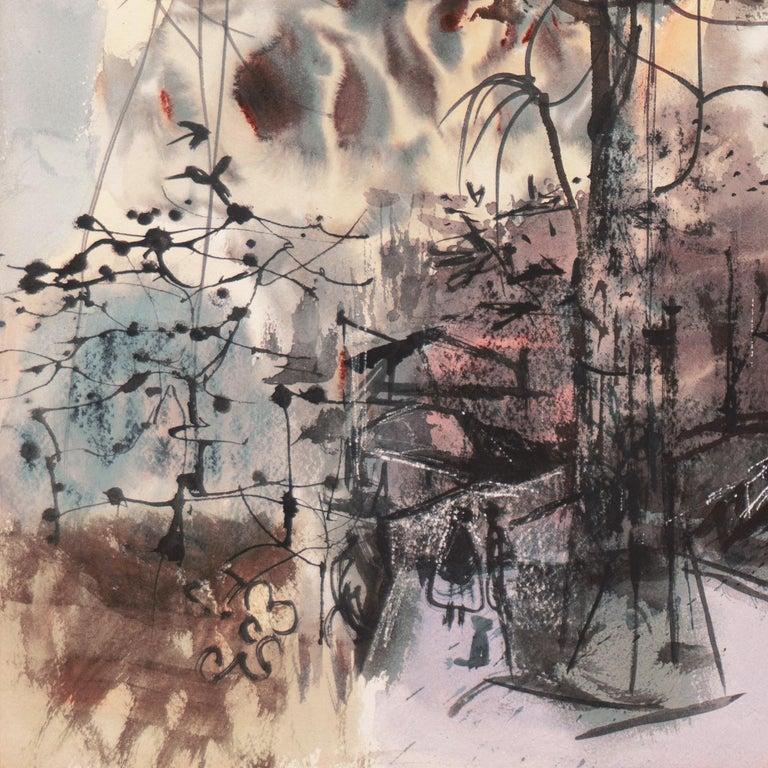 'At the Park', Metropolitan Museum, NY MOMA, AIC, ASL, Whitney Museum, Toledo - Gray Landscape Art by Rainey Bennett
