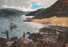 'Estuary at Sunset', Mendocino, California, American Watercolor Society, SWA