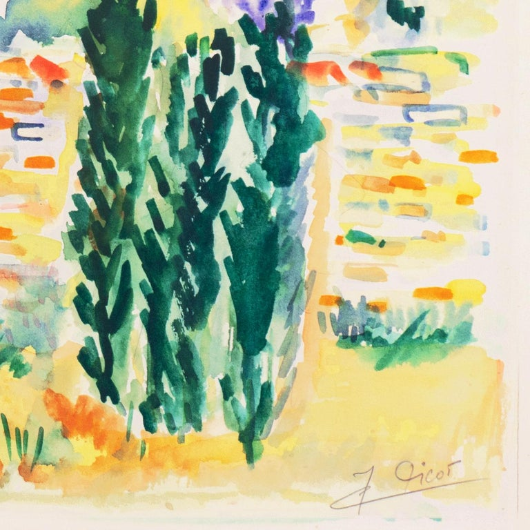 Signed lower right, 'J. Picot' for Jean-Claude Picot (French, born 1933), and painted circa 1975; additionally titled, verso, 'Paysage a Mandelieu'. Paper dimensions: 15 x 19 inches.   Since 1947, Picot has exhibited in over fifty one-person shows
