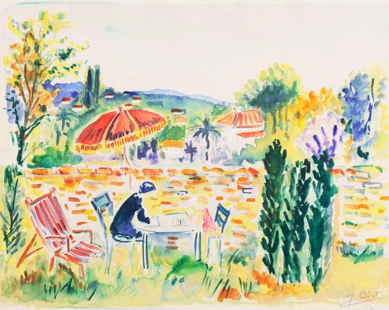 Jean-Claude Picot Figurative Art - 'Painting in the Garden', Academy of Fine Arts of Rouen, Mandelieu-la-Napoule