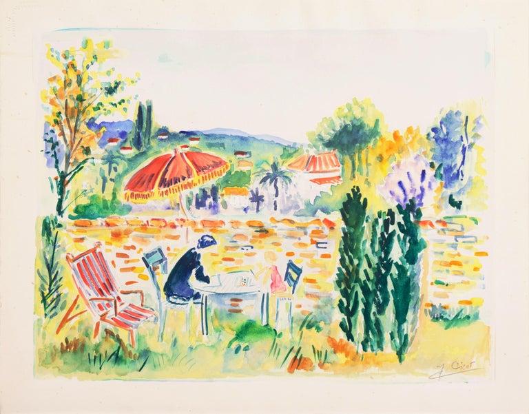 'Painting in the Garden', Academy of Fine Arts of Rouen, Mandelieu-la-Napoule - Beige Figurative Art by Jean-Claude Picot