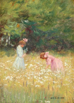 Frances and Ruth Jennings in a Field of Flowers