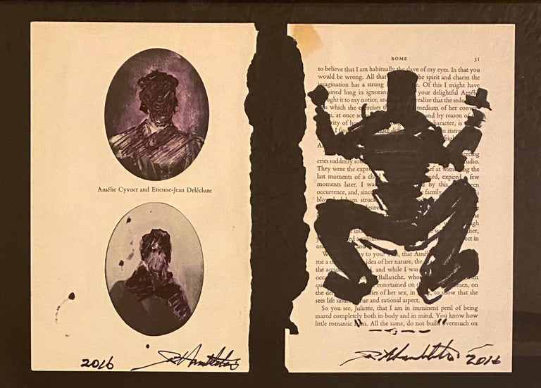 Richard Hambleton: Set of 3 individual hand-signed drawings, 2016. Framed.   Medium: Black Marker on found book pages. Individual Dimensions: 5.4 x 8.5 inches (applies to each individual sheet). Overall Dimensions Framed: 24 x 13.5 inches. Each