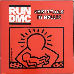 Rare Original Keith Haring Vinyl Record Art (Run Dmc Christmas)