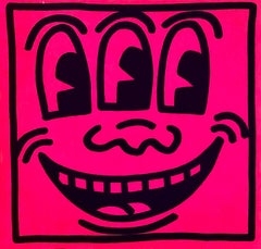 Original Keith Haring Three Eyed Smiling Face stickers (Pop Shop c. 1985)