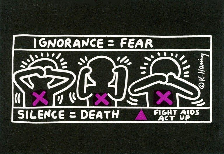 Vintage Keith Haring announcement (Keith Haring Silence Equals Death)  - Pop Art Art by (after) Keith Haring