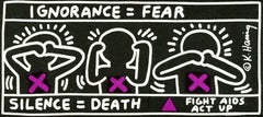 Vintage Keith Haring announcement (Keith Haring Silence Equals Death)