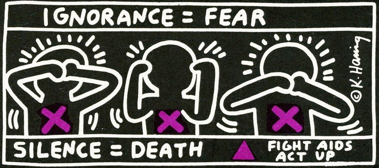 Vintage Keith Haring announcement (Keith Haring Silence Equals Death)  - Art by (after) Keith Haring