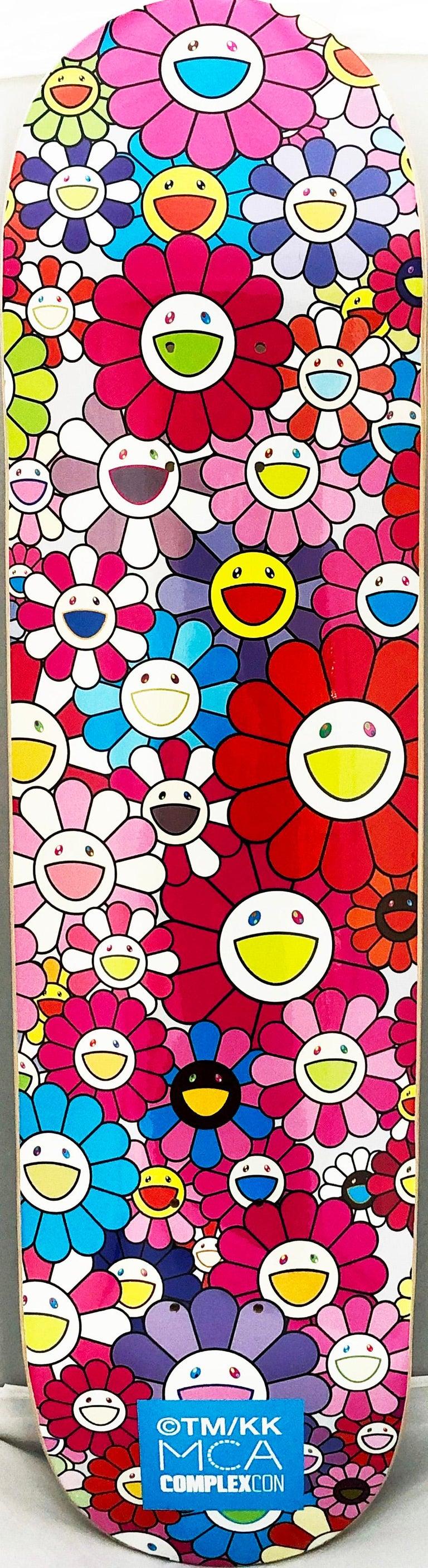 Set of 3 Takashi Murakami Flowers Skateboard Decks A vibrant triptych of Takashi Murakami wall art