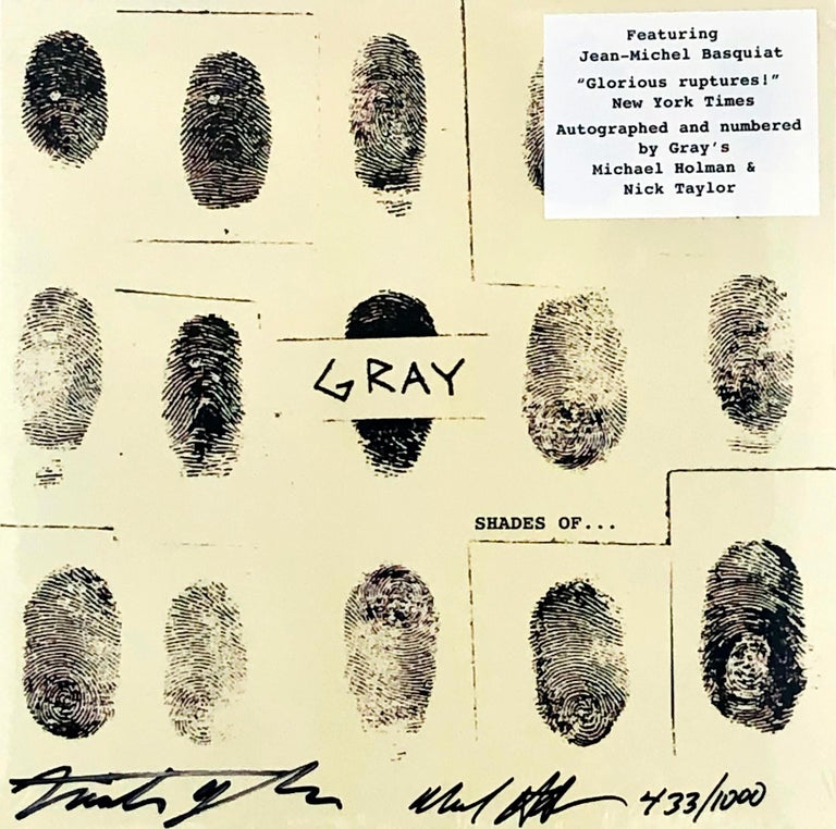 """Rare """"Gray, Shades of..."""" Vinyl Record Album featuring offset cover art from Jean Michel Basquiat, """"who immortalized the work by integrating his fingerprint into the original piece (Gray Co-founder Michael Holman)."""" This jewel of a record also"""